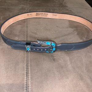 Vintage Western Boho Justin Cowhide Belt Size 32